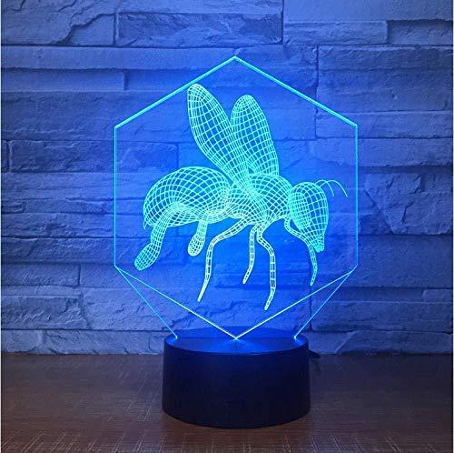 Bijen industriële 3D-lamp met 7 kleuren, led-visuele verlichting voor kinderen, touch-USB, baby, nachtlampje, kinderkamer