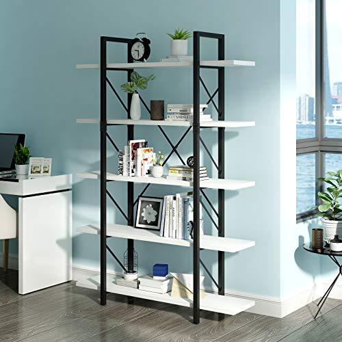 YITAHOME 5 Tier Bookcase, Artsy Modern Bookshelf, Book Rack, Storage Rack Shelves in Living Room/Home/Office, Books Holder Organizer for Books/Movies - White