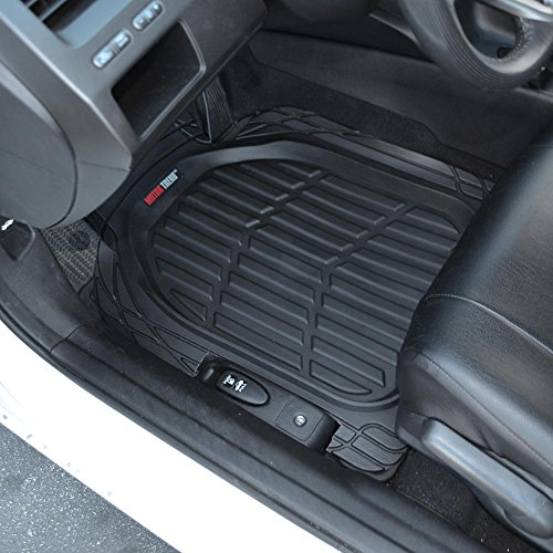 Motor Trend 923-BK Black FlexTough Contour Liners-Deep Dish Heavy Duty Rubber Floor Mats for Car SUV Truck & Van-All Weather Protection, Universal Trim to Fit