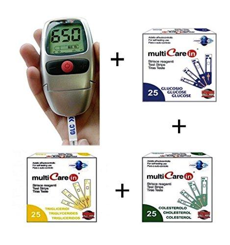 MULTICARE IN – Kit per la misurazione e l\'autocontrollo di glicemia, colesterolo e trigliceridi + 25 STRISCE GLUCOSIO + 25 STRISCE COLESTEROLO + 25 STRISCE TRIGLICERIDI