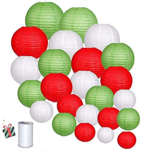 Treer 24 Piezas Linternas de Papel Farolillo, Papel Redondo para Decoracion, Ideal la Fiesta, el Cumpleanos, la Navidad y la Boda Decoracion (Verde)