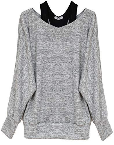 Van Der Rich ® - Oversize Oberteile Tshirt/Pullover (2 Stück) / Made In Italy - Damen (XL-XXL, Grau)