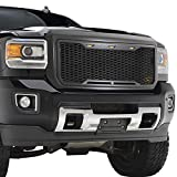 EAG Replacement Upper ABS Grille Mesh Front Hood Grill - Charcoal Gray - with Amber LED Lights Fit...