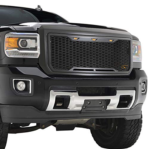EAG Replacement Upper ABS Grille Mesh Front Hood Grill - Charcoal Gray - with Amber LED Lights Fit for 15-19 GMC Sierra 2500/3500