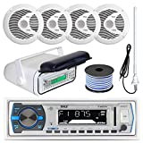 Pyle PLMRB29W MP3 USB SD Bluetooth in-Dash Radio Receiver Bundle Combo with White Marine Stereo Housing + 4X 6 1/2' Dual Cone Waterproof Audio Speakers = Enrock Flex AM/FM Antenna + 50Ft Speaker Wire