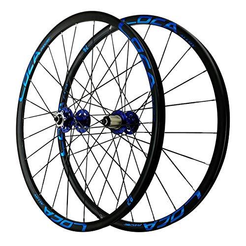 ZNND Trasero Rueda,Aleación De Aluminio Doble Capa 24 Hoyos Ruedas De Bicicleta 8-12 Velocidades Liberación Rápida Ruedas De Ciclismo (Color : Blue, Size : 27.5in)