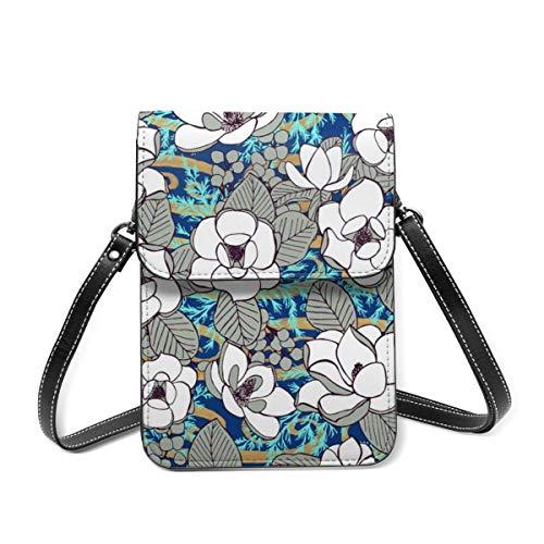 Kleine Umhängetasche, elegante Magnolienblüten Cobalt XL Crossbody Tasche Handy Geldbörse Geldbörse Leichte Crossbody Handtaschen für Frauen Mädchen