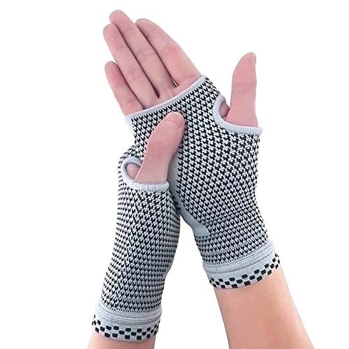 NOVAYARD Compression Gloves Carpal Tunnel for Women&Men Hand Brace Wrist Support Sleeves Pain Relief(Grey,Large)