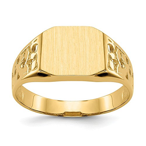 14k Yellow Gold 9.0x10.5mm Mens Signet Band Ring Size 9.00 Man Fine Jewelry For Dad Mens Gifts For Him