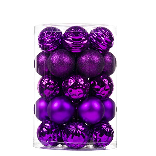 "34Ct Christmas Ball Ornaments for Xmas Tree Shatterproof Christmas Decorations Hanging Ball Small for Holiday Party Decoration,Tree Ornaments (Dark Purple, 2.36"")"