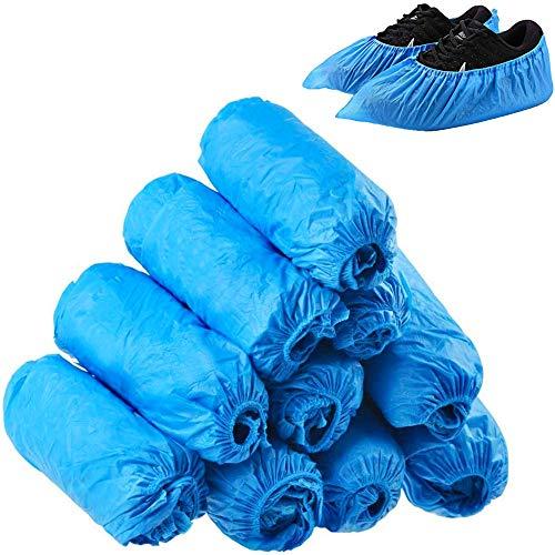 100 fundas desechables para zapatos de protección médica, antideslizantes, más gruesas, protectores de alfombra de suelo, para limpieza, color azul oscuro