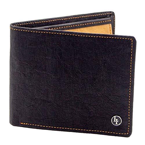 Herren Geldbörse aus veganem Papierleder, Männer Portemonnaie mit RFID-Schutz, Vegan Wallet, Papier Geldbeutel nachhaltig (Schwarz/Hellbraun) | LOCKLAIR