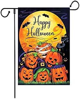 "Fiuqaomy Happy Halloween Bat Pumpkin Garden Flag Vertical Double Sized, Holiday Burlap Yard Outdoor Decoration 12.6"" 18.5"""