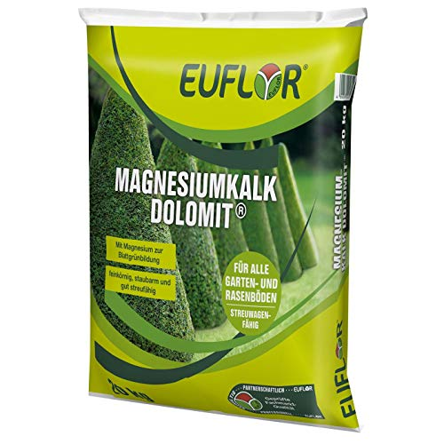 Euflor Magnesiumkalk Dolomit 20kg•Magnesiumkalk 95 (60% CaCO3+35% Mg CO3)•Erhaltungskalkung und Magnesiumversorgung von Gartenböden und Rasen • Wirkt nachhaltig•Feinkörnig, streufähig und staubarm