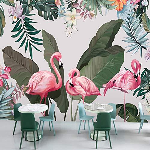 Papel Pintado Para Baños y Cocinashojas De Color Verde Flamenco Rosado 150x100cm Imagen 3D Murales Personalizados Papel Tapiz Papel Pintado Fotomural Para Paredes Vinilo Pared