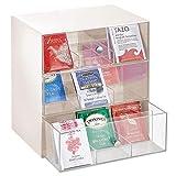 mDesign Aufbewahrungsbox für Teebeutel, Kaffeepads, Zucker usw. – kompakte Teekiste aus Kunststoff mit 27 Fächern – Küchen Organizer mit 3 Schubladen – Creme und durchsichtig