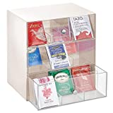 mDesign Organizador de cocina para bolsas de té, cápsulas de café, azúcar, etc. – Compacto organizador con cajones de plástico con 27 apartados – Mini cajonera con 3 cajones – crema y transparente