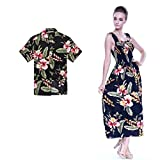 Couple Matching Hawaiian Luau Aloha Shirt Maxi Tank Dress in Black Rafelsia 2XL