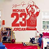 Michael Jordan Wall Decal Sports Baloncesto Decoración para el hogar 23 Bull Art Vinyl Wall Decal Boy Room Kids Room Decoration