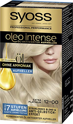 Syoss Oleo Intense Permanente Öl-Coloration 12-0 Extra Platinum, mit pflegendem Öl & ohne Ammoniak, 3er Pack(3 x 133 ml)