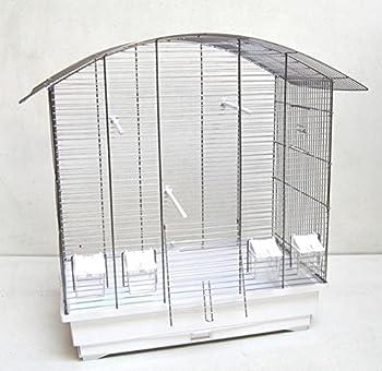 Ollesch Cage à Oiseaux Ula, Cage à Oiseaux avec Accessoires chromé/Blanc
