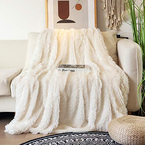 Decorative Extra Soft Faux Fur Blanket Full Size 70' x 78',Solid Reversible Fuzzy Lightweight Long Hair Shaggy Blanket,Fluffy Cozy Plush Fleece Comfy Microfiber Blanket for Couch Sofa Bed,Cream White