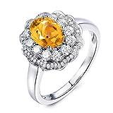 Beydodo Damen Ring Silber 925 Eckig, Blume mit Citrin Verlobung Ringe Ehering Nickelfrei Gr.47 (15.0)
