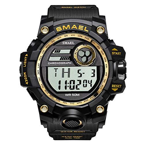 W.zz Reloj para Hombre Deportes Aire Libre Impermeable Pantalla Individual Digital Reloj Electrónico para Hombre Multifunción, Luminoso, Pantalla Semanal, Alarma, Pantalla Mes, Cronógrafo,Oro