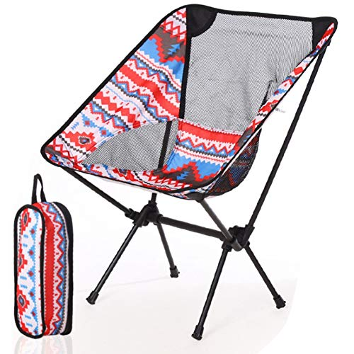 Senmubery Outdoor Folding Chair New Portable Ultra-Light Aluminum Alloy Chair Fishing Camping Stool Folding Stool Seat (Red)