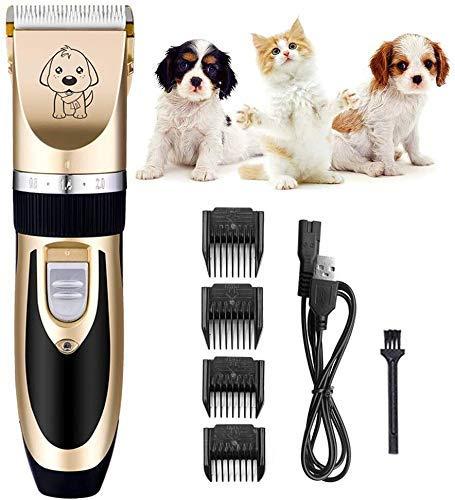 Pelo tijeras de la herramienta de corte eléctrico Clippers Clippers for perros mascotas Inalámbrico perro Trimmer mascotas herramienta de la preparación Juego de bajo ruido guías profesionales tijeras