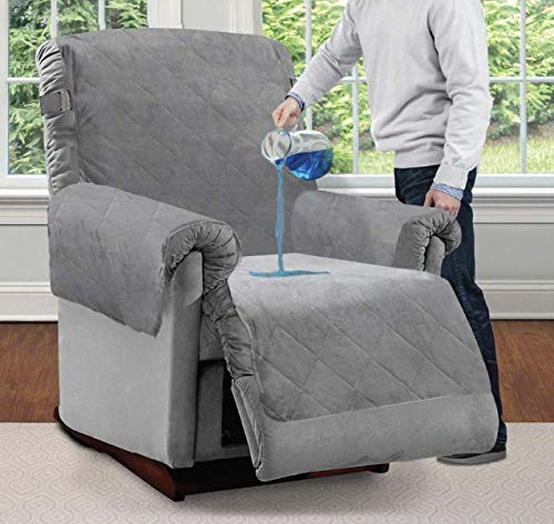 Mighty Monkey Premium Water and Slip Resistant Recliner Slipcover, Seat Width Up to 26 Inch, Absorbs 2 Cups of Water, Oeko Tex Certified, Suede-Like, Cover for Recliners, Dogs, Recliner, Gray
