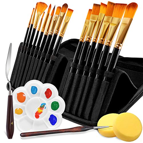 Paint Brush Set, Emooqi Set of 20 PCS Acrylic Paint Brushes, Soft and Smooth Nylon Professional Artist Brush with Pop-up Carrying Case, Palette Knife, for Acrylic,Watercolor, Gouache and Oil