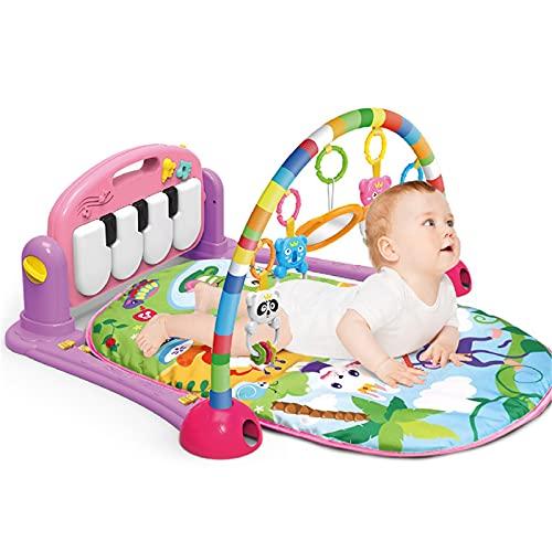 ZXJ Baby Play Mat - Kick and Play Piano Gimnasio Centro De Actividades - 5 Juguetes Extraíbles Y Musicales para 0-18 Meses Chicos Y Niñas (Color : Pink)