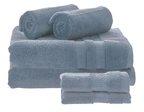 iDesign Juego de 6 Toallas de baño o Aseo de Invitados, Suaves Toallas de algodón 100%, Juego de Toallas con 2 de baño, 2 de Lavabo y 2 de tocador, Azul grisáceo