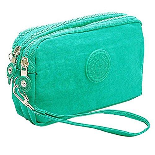 Fueerton - Bolso multiusos con cremallera y 3 apartados para guardar llaves, tarjetas, teléfono y dinero, verde menta (Verde) - Fueerton