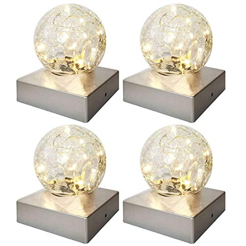 Solalite Solar Post Cap Lights - Waterproof Outdoor Crackle Glass Ball Cap Lights for Deck, Fence, Patio, LED Garden Decorative Lights for 4 x 4 Posts - Warm White, 4 Pack