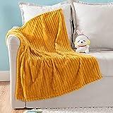 MIULEE Fleece Baby Blanket with Stripe Pattern for Boys, Girls, Kids, Infant, Newborn Fuzzy Flannel Throw Blanket Plush Warm Cozy for Crib Stroller Nap 30'x40' Orange Yellow