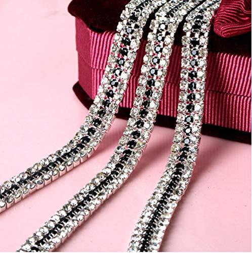 AUBERSIT Cadena de Copa de Diamantes de imitación deCristal de 3 Filas, 2 Yardas, 3 mm, con Adorno de decoración de Vestido de Garra, Negro