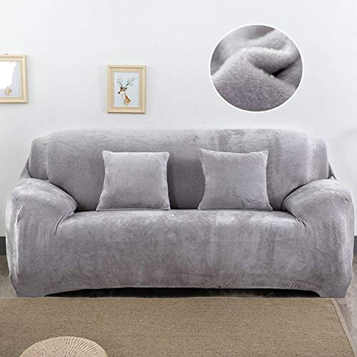 WAXCC Plush Stretch Solid Color Thickening Sofa Cover Chair Cover Cushion Cover Sofa Towel,Silver Grey,3,Seater 190,230cm