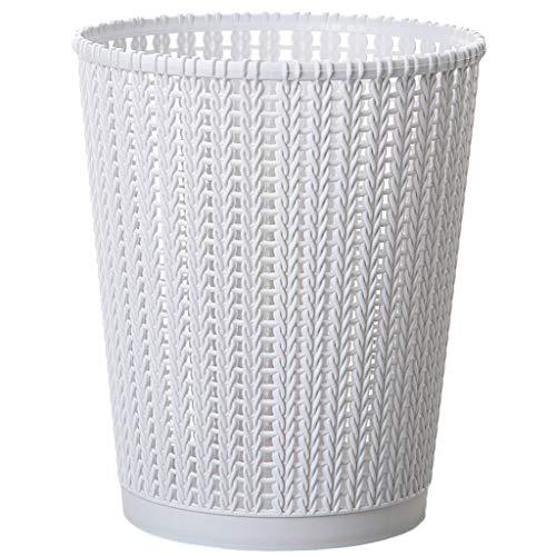 Papelera hueca de plástico para el hogar, sin cubierta, redonda, con forma de barril, con textura de ratán, para casa, oficina, sala de estar, cocina, (color: blanco, tamaño: L)