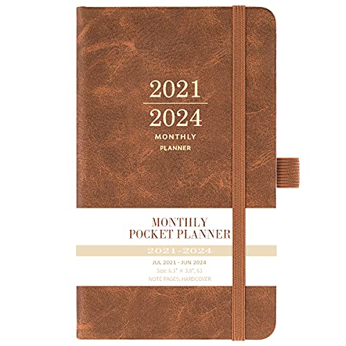 """2021-2024 Monthly Pocket Planner - Three Year Pocket Monthly Calendar, 36 - Month Planner with Pen Hold, 6.3"""" × 3.8"""", July 2021 - June 2024, Elastic Closure, Page Divider, Inner Pocket, Thick Paper"""