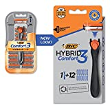 BIC Comfort 3 Hybrid Men's Disposable Razor, 3 Blades, 12 Cartridges and 1 Handle, Black, For a Close and Comfortable Shave