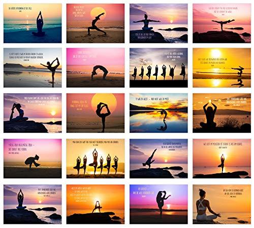 Edition Seidel Set 20 Yoga Postkarten mit schönen Sprüchen - Karten mit Spruch Geburtstag Motivation Achtsamkeit Sport Geburtstagskarten