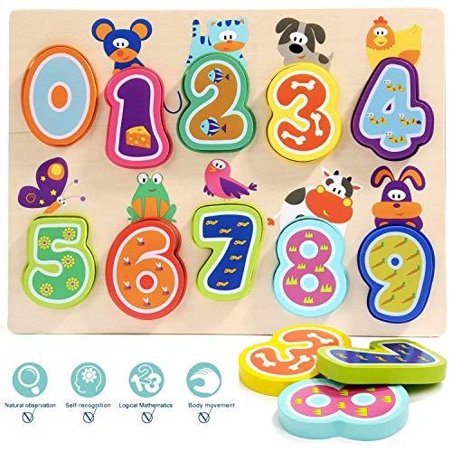 TOP BRIGHT Puzzle de Madera Infantil – Encaja y Ordena los Números - Rompecabezas de Madera para Bebés y Niños de 1 año - Materiales de Primera Calidad - Juguete Educativo para Desarrollo Cognitivo