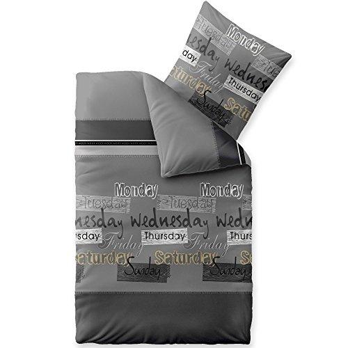 CelinaTex Fashion Bettwäsche 155 x 220 cm 2teilig Baumwolle Crazy Wörter Streifen Grau Schwarz Weiß