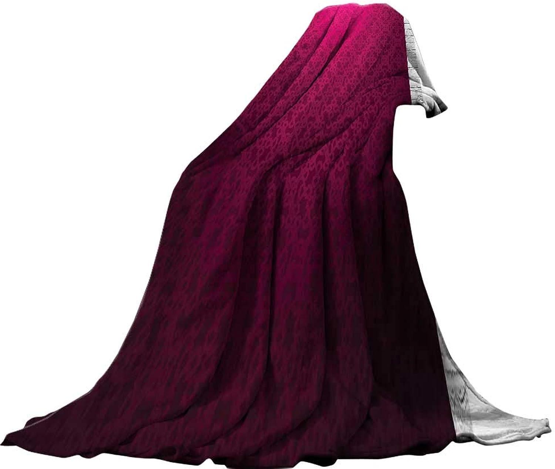 QINYAN-Home Lightweight Blanket (60 x60 ) Summer Quilt Comforter Magenta Decor Antique Ornamental Monochrome Royal Drawing with Arabesque Influence Boho Print Purple.