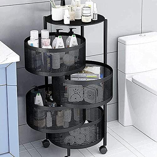 YUEZPKF Fácil de Usar Unidad de estantería Estrecha Cocina giratoria Trolley con Ruedas Piso de pie Multi-Capa Metal Mesh Wire Cart Embalaje de Estante (Color: 4F) (Color : 4f)