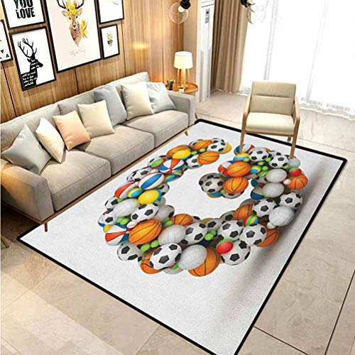 Letter G Living Room Rugs Bath Rugs for Bathroom Athletic Theme Concept Youthful Teenager Boys Girls Activity Font for Sports Fans Comfy Bedroom Home Decorate Floor Kids Playing Mat Multicolor