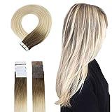 Easyouth Menschenhaarband In Erweiterungen Ombre 40g 14 Zoll Farbe #7B Mittel Braun Fading To #613 Gelbe Blondine Human Hair Glue In Full Head Tape In Hair Extensions