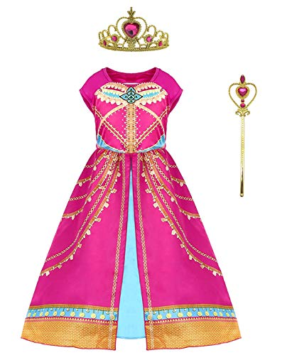 Soyoekbt Girls Princess Costume Toddler Birthday Party Dress Up for 2-10 Years Kids Red 120